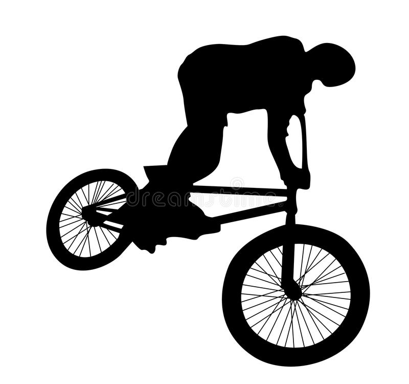 Bmx rider. Cyclist silhouette isolated on white stock illustration