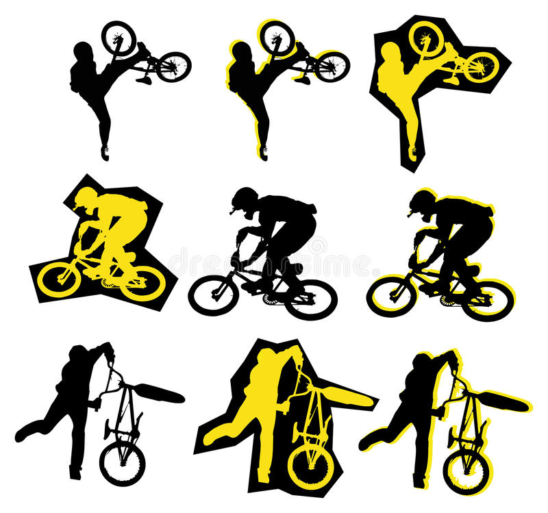 BMX rider. Black and yellow vector silhouette of BMX rider royalty free illustration