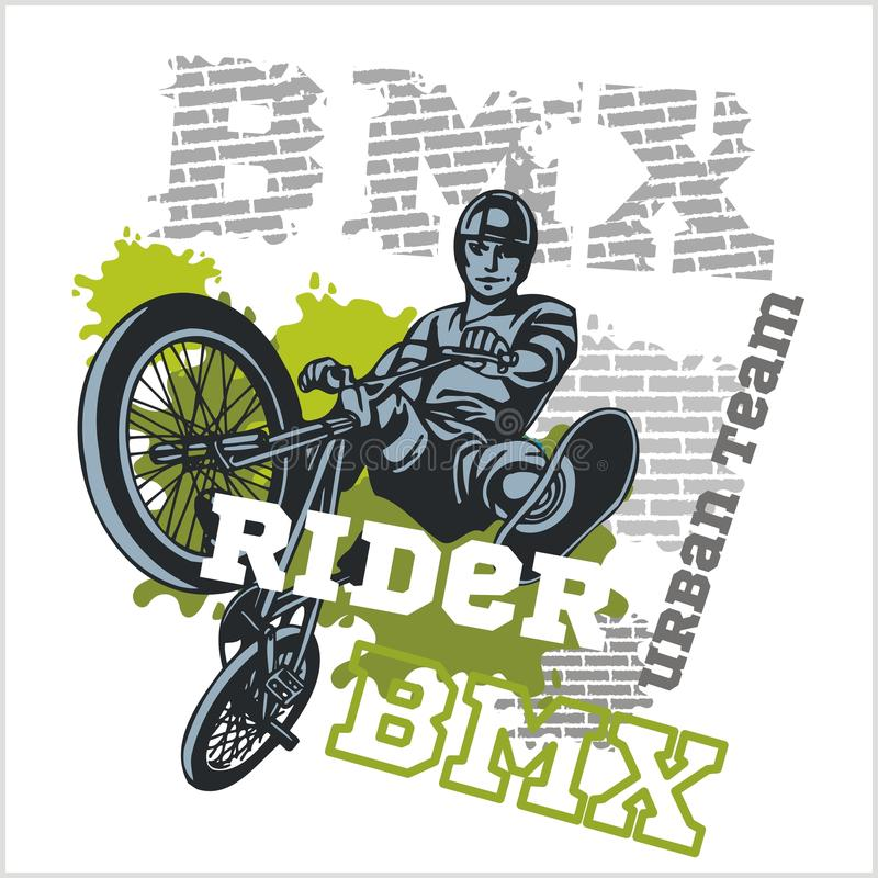 BMX rider - urban team. Vector design. BMX rider - urban team. Freestyle bike trial. Vector illustration royalty free illustration