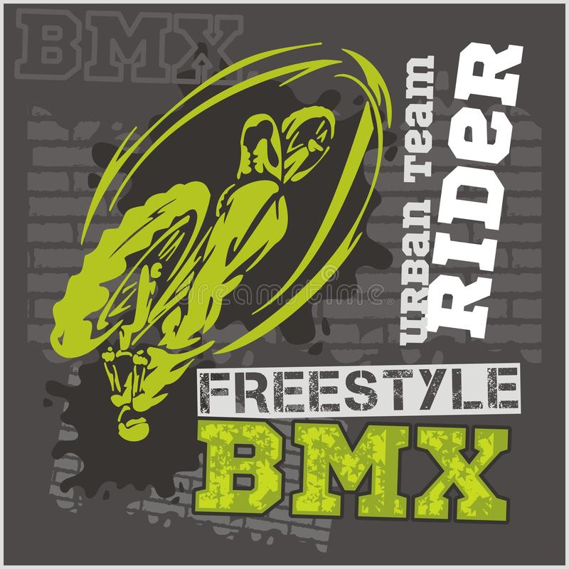 BMX rider - urban team. Vector design. BMX rider - urban team. Freestyle bike trial. Vector illustration vector illustration