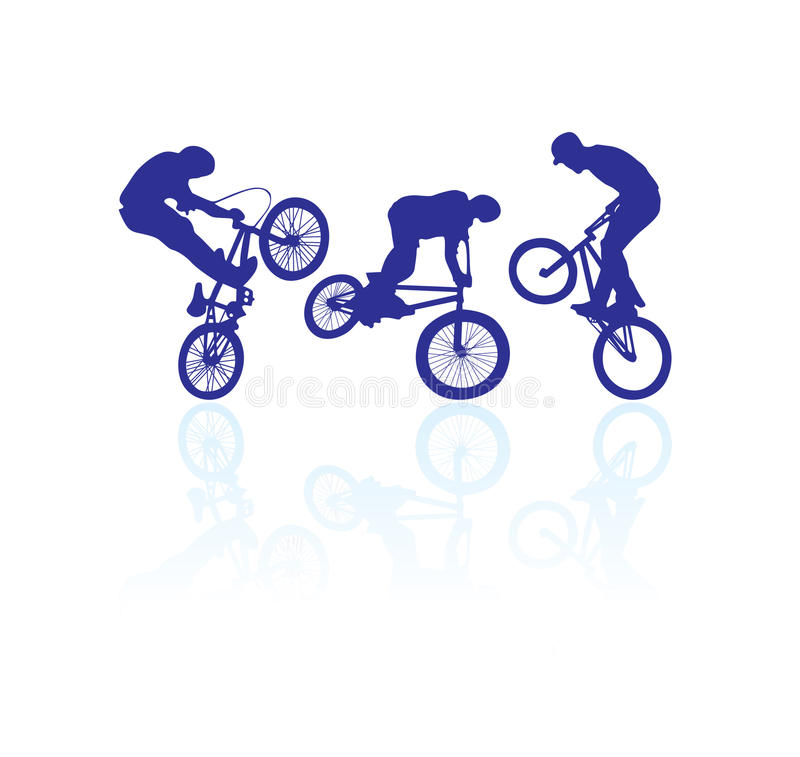 Bmx riders. Cyclist silhouette isolated on white vector illustration