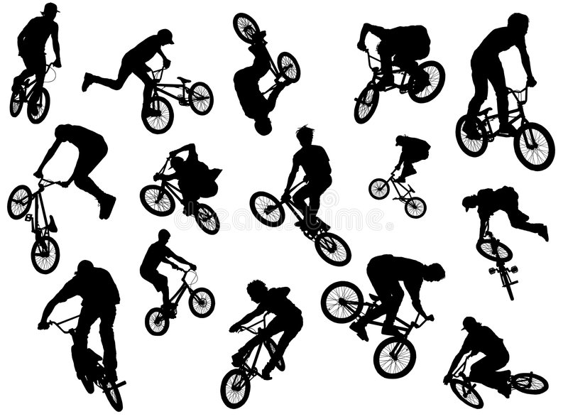 BMX riders. Black silhouettes of BMX and MTB riders royalty free illustration