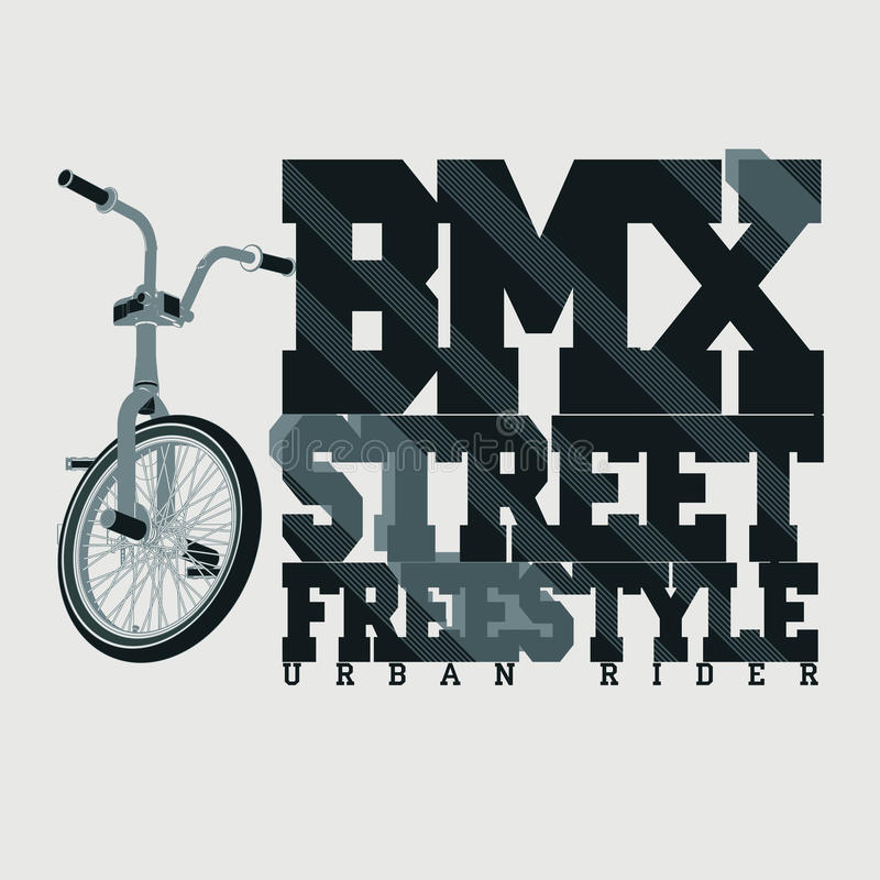BMX Riding Typography t-shirt, vector. BMX Riding Typography Graphics. Extreme bike street style. T-shirt Design, Print for sportswear apparel - vector stock illustration