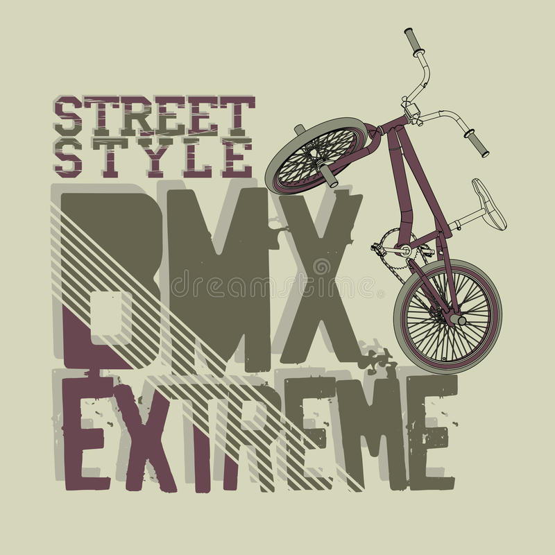 BMX Riding vector Typography. BMX Riding Typography Graphics. Extreme bike street style. T-shirt Design, Print for sportswear apparel - vector illustration stock illustration