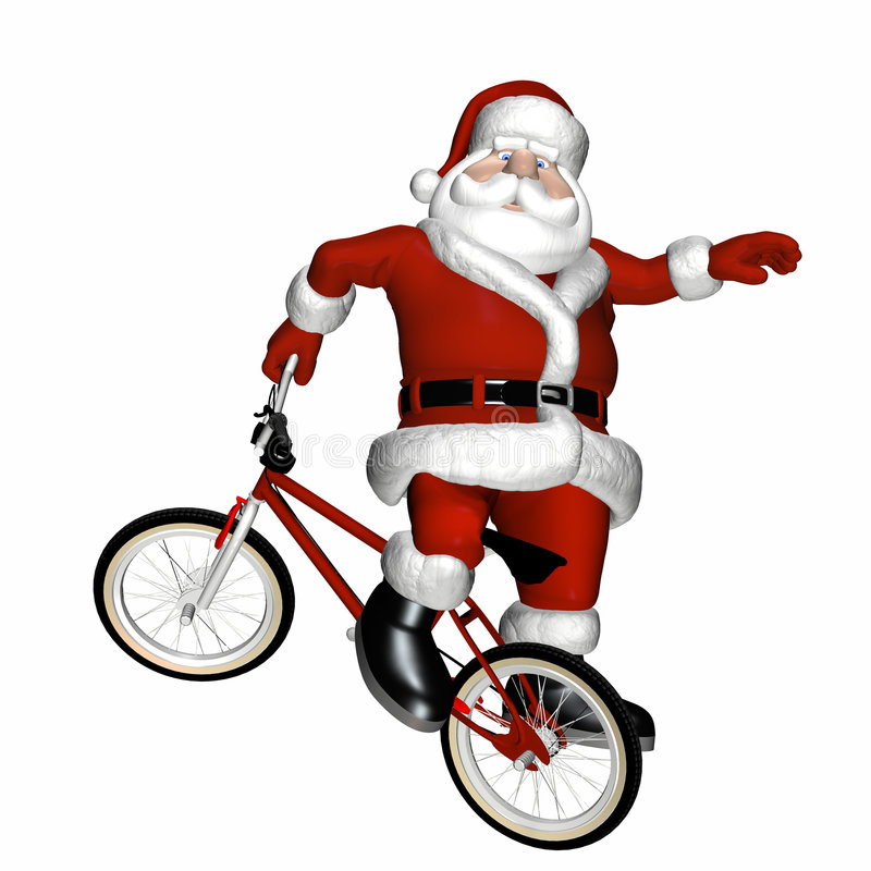 BMX Santa 1. Santa Doing Tricks on a BMX Motocross Bicycle. Isolated on a white background royalty free illustration