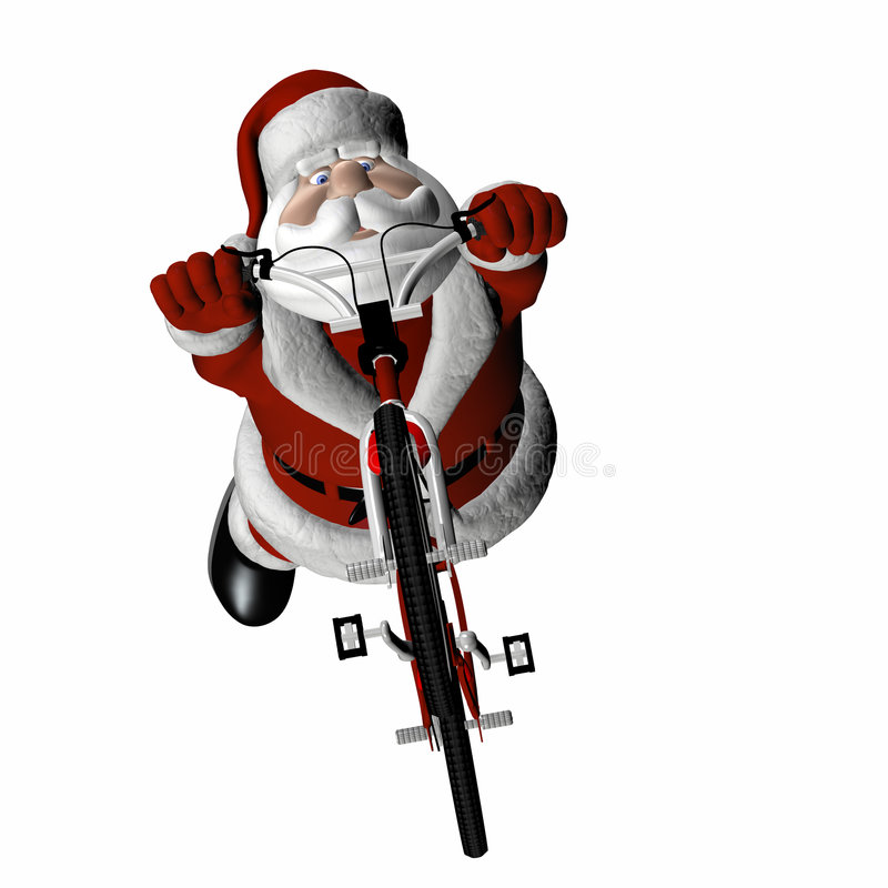 BMX Santa 4. Santa Doing Tricks on a BMX Motocross Bicycle. Isolated on a white background royalty free illustration