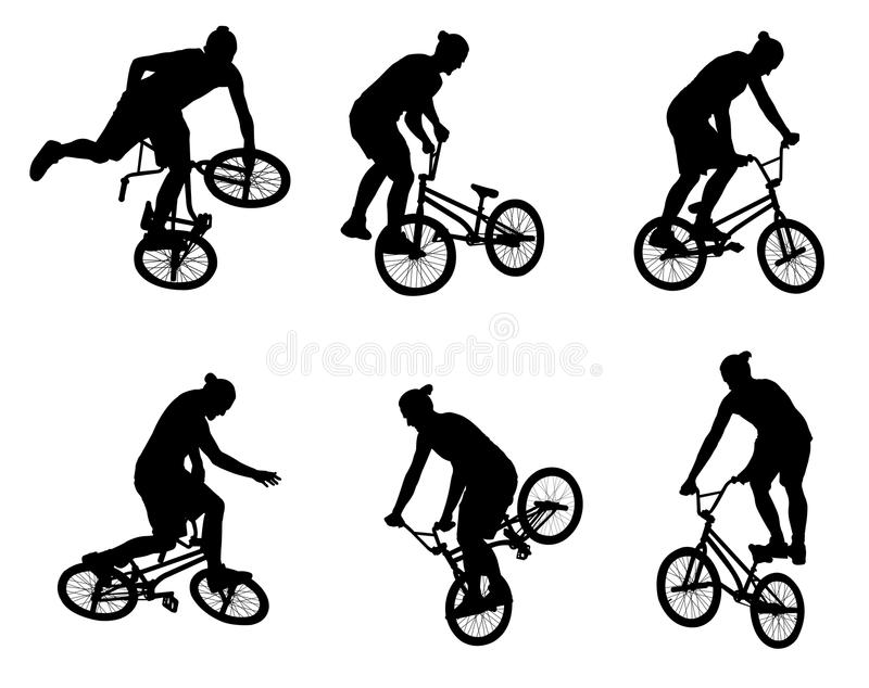 BMX stunt bicyclist. Set of BMX stunt bicyclist silhouettes vector illustration