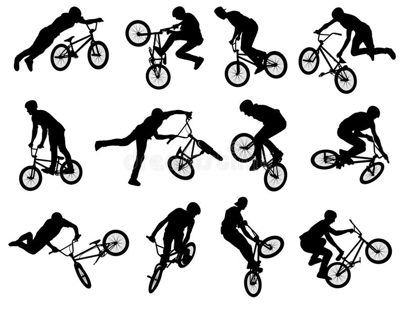 Bmx stunt silhouettes. Set of 12 bmx stunt silhouettes vector illustration