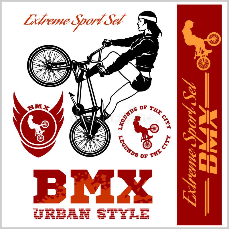 BMX t-shirt Graphics. Extreme bike street style - Vector BMX cyclyst. On white vector illustration