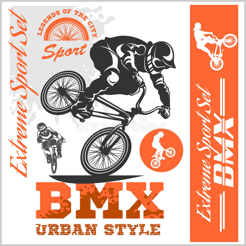 BMX t-shirt Graphics. Extreme bike street style - Vector BMX cyclyst. On white royalty free illustration