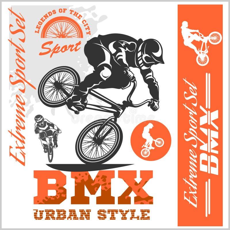 BMX-t-shirtgrafiek De extreme stijl van de fietsstraat - Vectorbmx cyclyst royalty-vrije illustratie