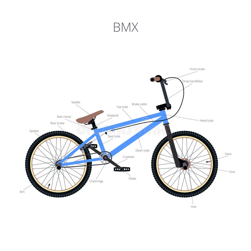 BMX with text. BMX bicycle infographic elements and parts stock illustration