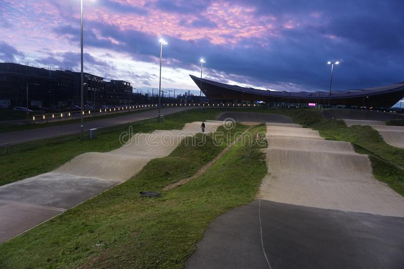 BMX track in London with one rider on it stock images