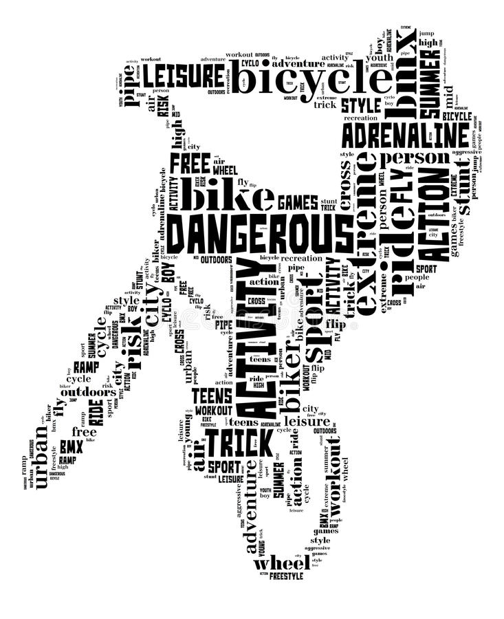 BMX on white. BMX info-text graphic and arrangement concept on white background (word cloud stock illustration