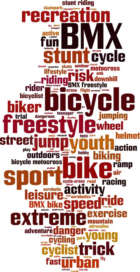 BMX word cloud. Concept. Vector illustration stock illustration