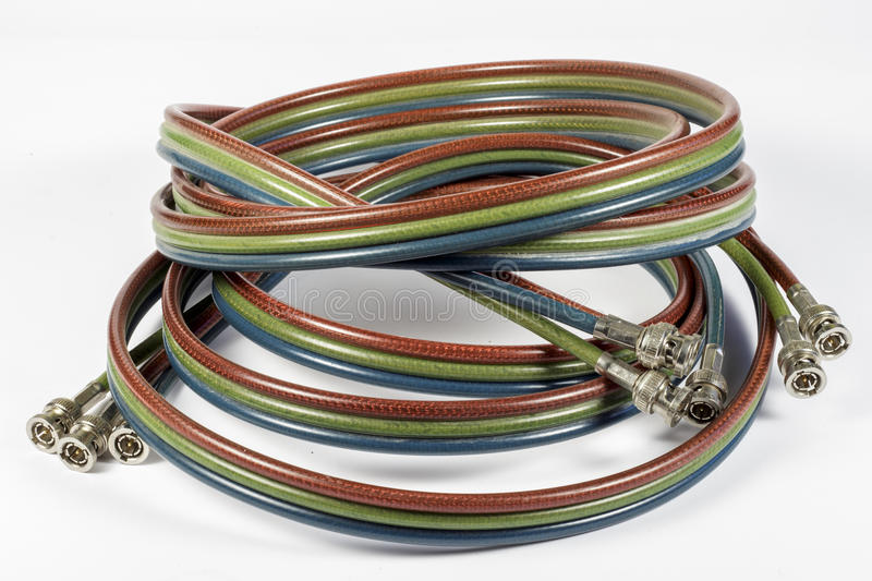BNC cables for analog componet video. Cables with BNC connectors used in an analog component video broadcast system stock images