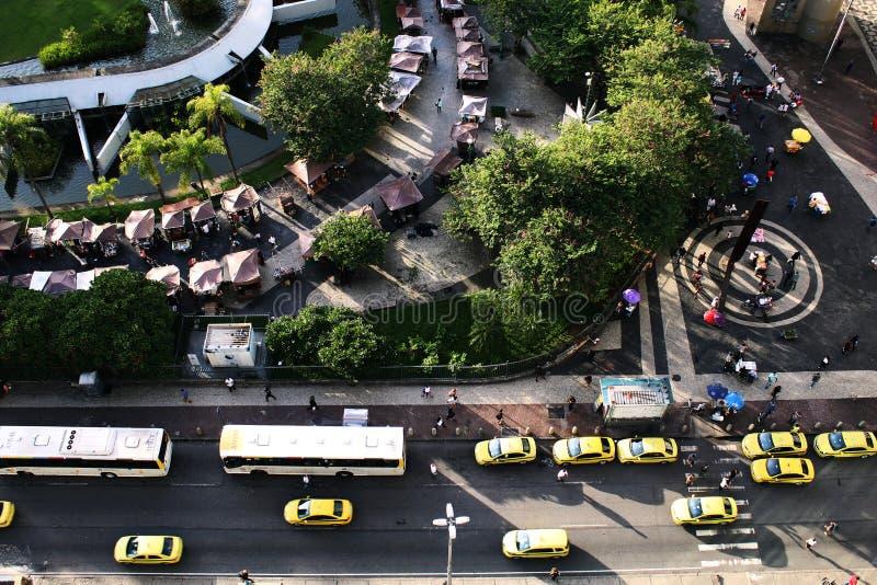 BNDES-Gebäudegarten, Rio de Janeiro, gestaltend durch Roberto Burle Marx landschaftlich lizenzfreies stockfoto