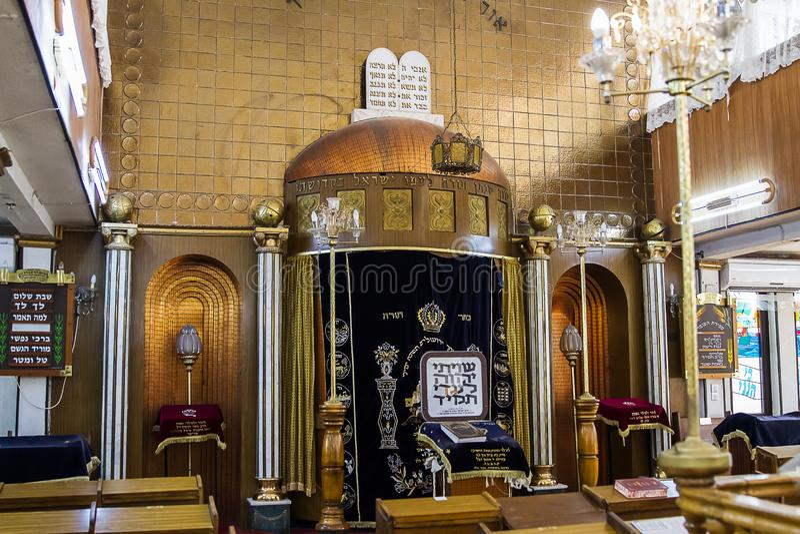 The interior of the synagogue Brahat ha-levana in Bnei Brak . Israel. Bnei Brak , Israel - October 18 . 2018: The interior of the synagogue Brahat ha-levana in stock image