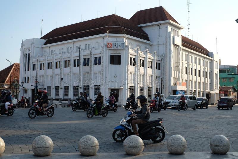 BNI 46 строя Yogyakarta историческое здание в центре города в архитектурном стиле indische стоковое изображение rf