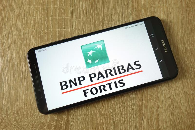 BNP Paribas Fortis logo displayed on smartphone royalty free stock photo