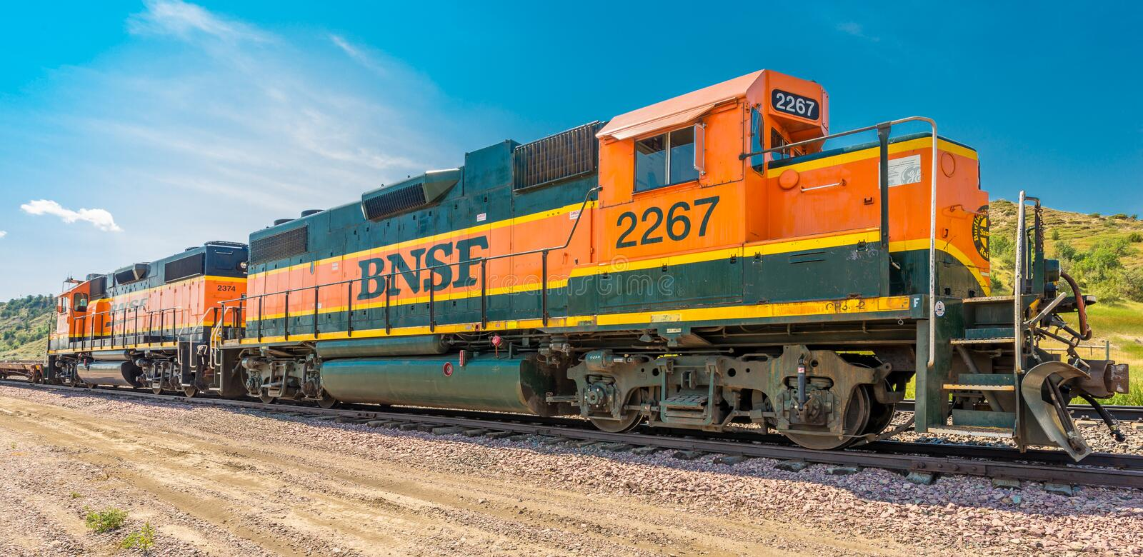 BNSF Diesel Locomotive 2267 & 2374 stock photos