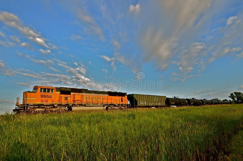 BNSF Freight Train in the Prairie stock images