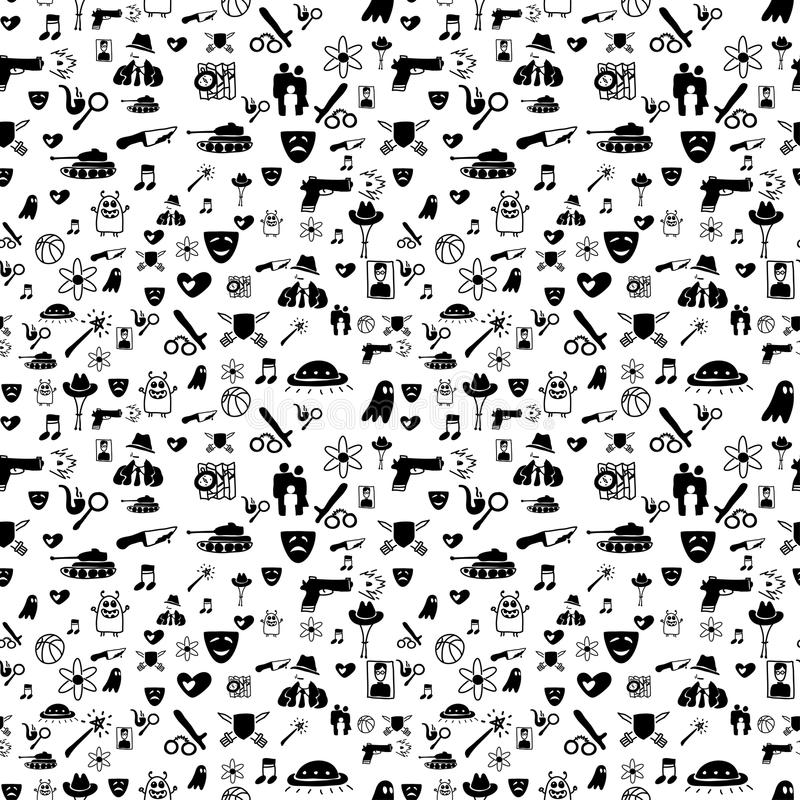 Bnw movie genre pattern. Vector hand drawn cartoon seamless pattern with cinema genres. Movie genres theme: action, romance, fantasy, sci-fi, comedy, drama royalty free illustration