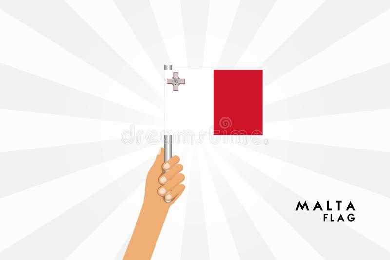 Vector cartoon illustration of human hands hold Malta flag royalty free illustration