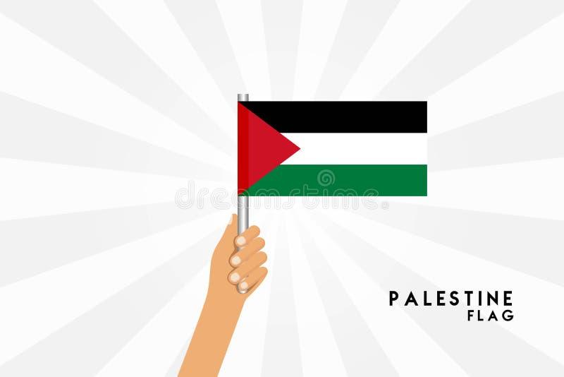 Vector cartoon illustration of human hands hold Palestine Gaza flag. Isolated object on white background stock illustration
