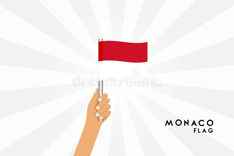 Vector cartoon illustration of human hands hold Monaco flag royalty free illustration