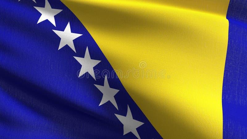 Bośnia i Herzegovina flagi państowowej dmuchanie w wiatrze odizolowywającym Oficjalny patriotyczny abstrakcjonistyczny projekt śl royalty ilustracja