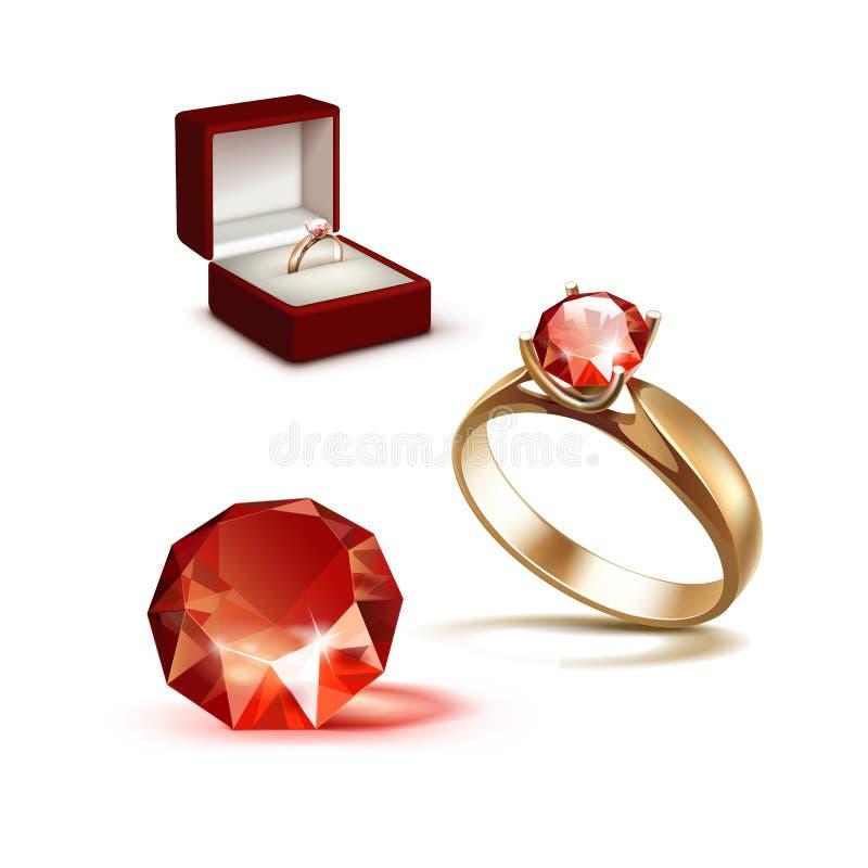 Boîte à bijoux de Ring Red Shiny Clear Diamond d'engagement d'or illustration stock