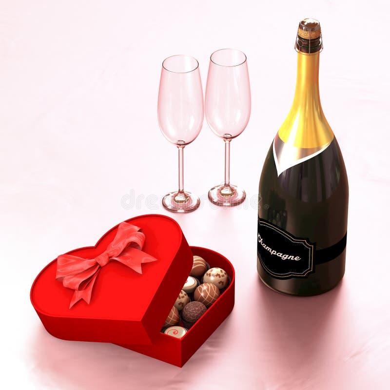 Boîte à chocolat avec un champagne et deux verres illustration stock