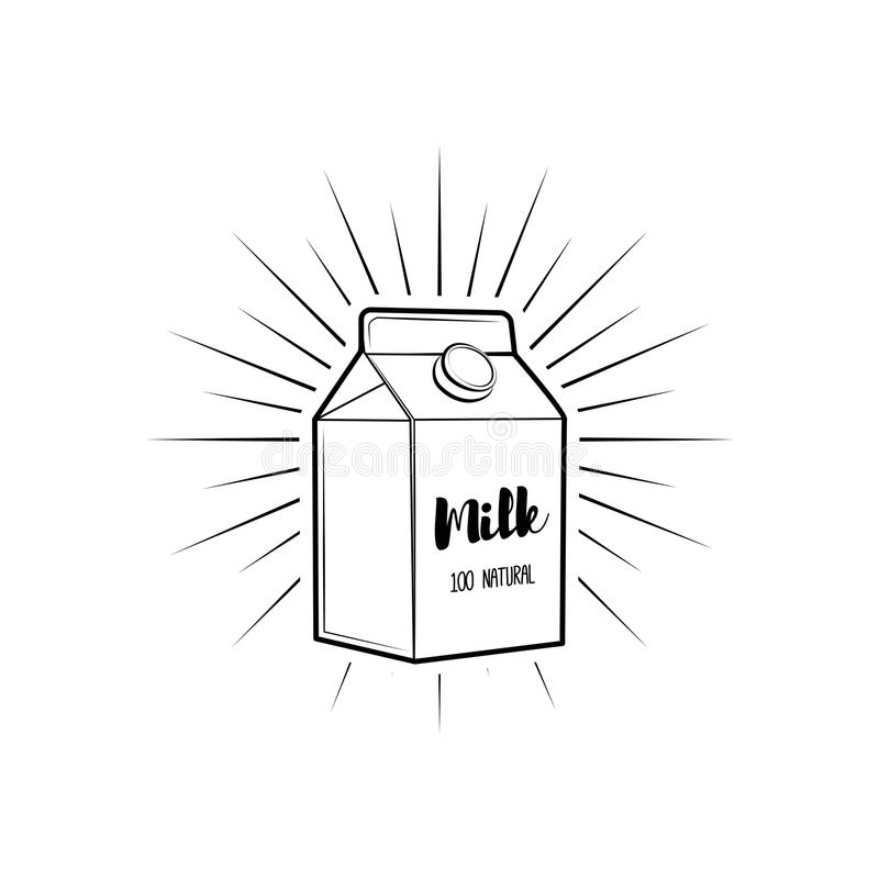 Boîte à lait avec des faisceaux Paquet de lait Produit naturel Vecteur illustration de vecteur