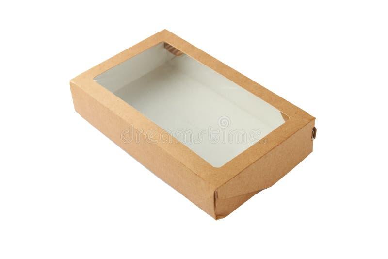 Boîte à lunch avec brun de fenêtre sur fond blanc photo stock