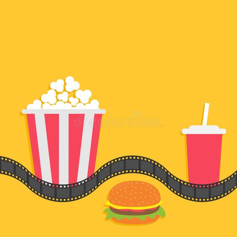 Boîte à maïs éclaté Verre de soude avec la paille hamburger Ligne de bande de film illustration de vecteur