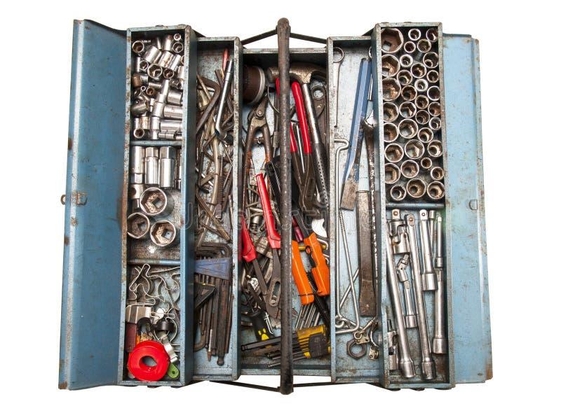Boîte à outils avec de divers outils photo stock