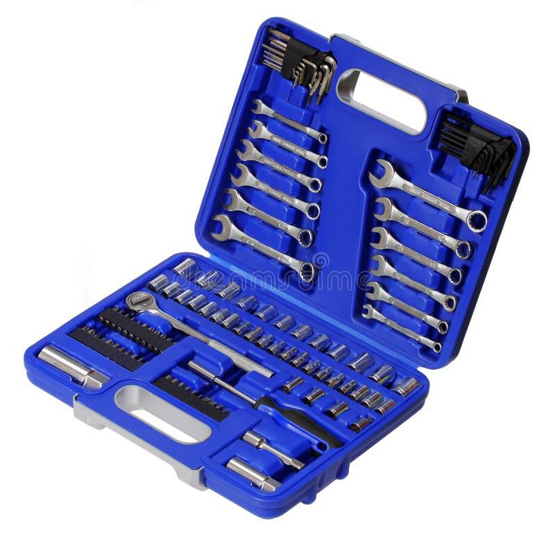 Boîte à outils d'isolement sur le fond blanc. boîte à outils bleue images libres de droits