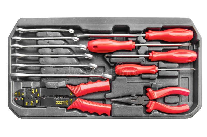 Boîte à outils des véhicules à moteur réglée de mécanicien pour l'entretien et la clé de réparation image libre de droits