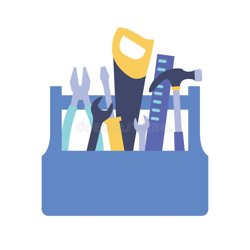 Boîte à outils en bois avec la poignée complètement des outils pour l'entretien et la réparation à la maison - marteau, scie, clé illustration libre de droits