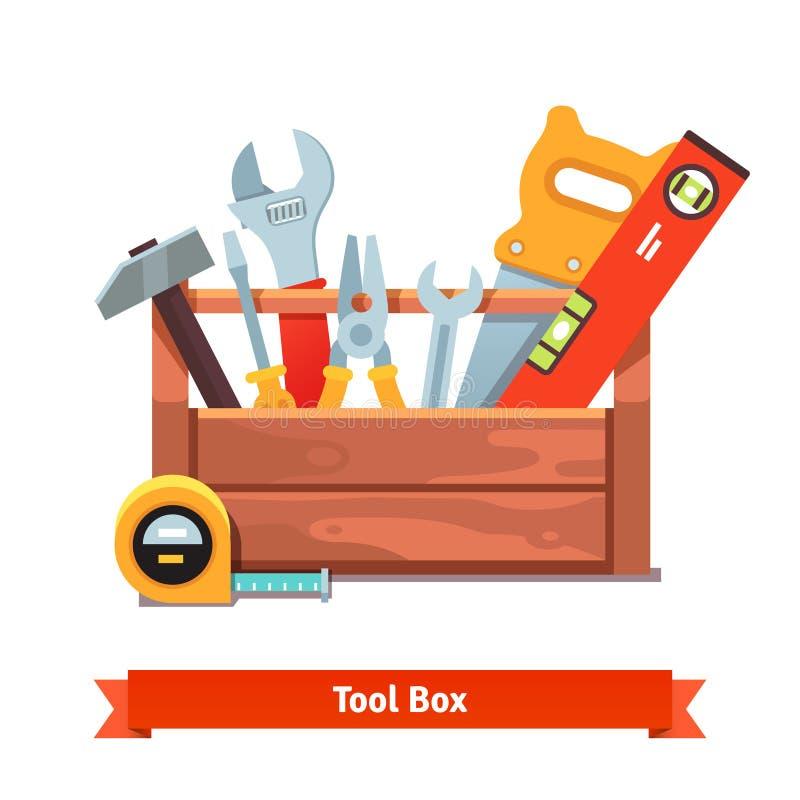 Boîte à outils en bois complètement d'équipement illustration de vecteur