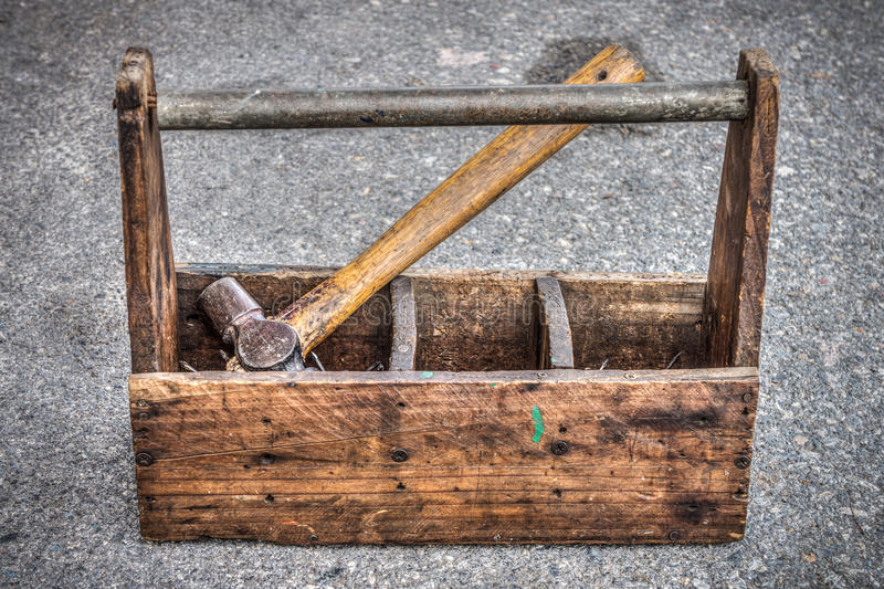Boîte à outils en bois de vintage photos libres de droits