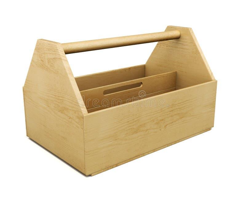Boîte à outils en bois portative sur un fond blanc rendu 3d illustration de vecteur