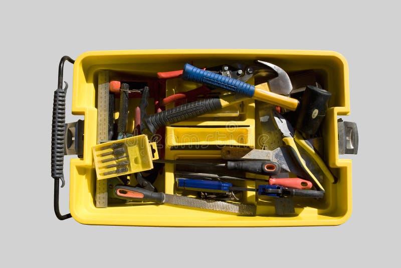 Boîte à outils et divers outils photographie stock