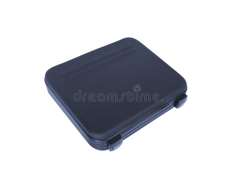 Boîte à outils noire d'isolement sur le blanc photos libres de droits