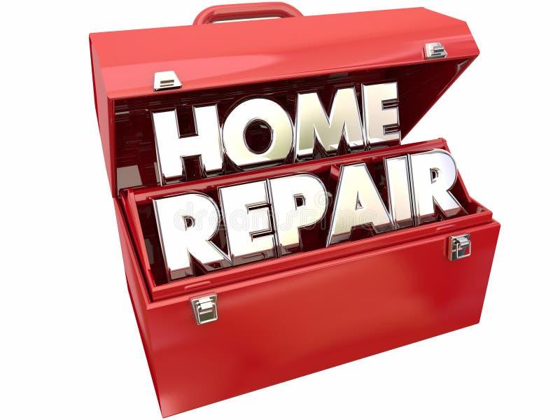 Boîte à outils rouge en métal de réparation d'amélioration à la maison de difficulté illustration de vecteur
