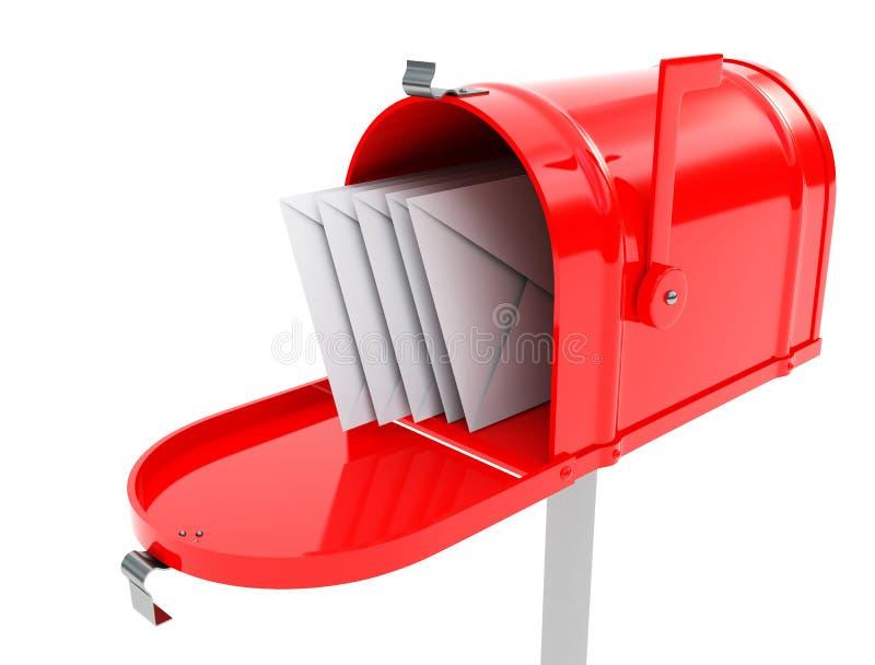 Boîte aux lettres avec des courrier illustration libre de droits