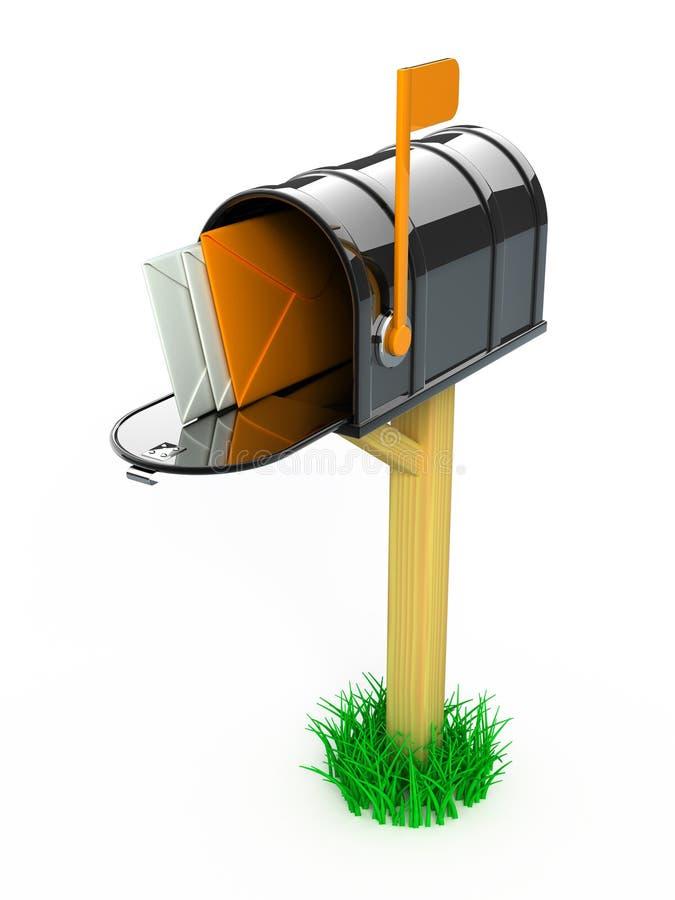 Boîte aux lettres avec des lettres illustration stock