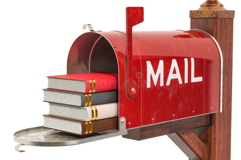 Boîte aux lettres avec des livres rendu 3d illustration de vecteur