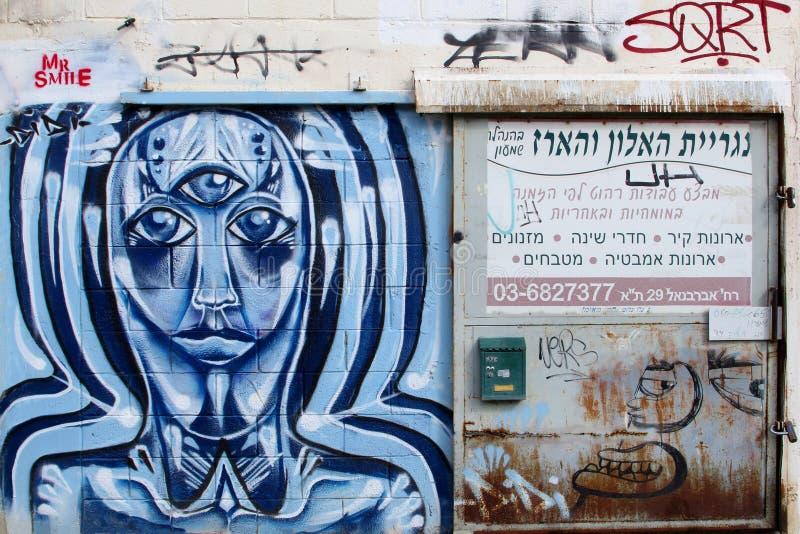 Boîte aux lettres d'art et essai de rue de Monsieur Smile, Florentin, Tel Aviv images stock
